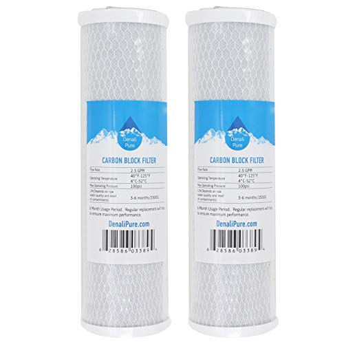 2-Pack Replacement for WaterPur CCI-10-CLW Activated Carbon Block Filter - Universal 10 inch Filter Compatible with WaterPur Clear Water Filter Housing - Denali Pure Brand