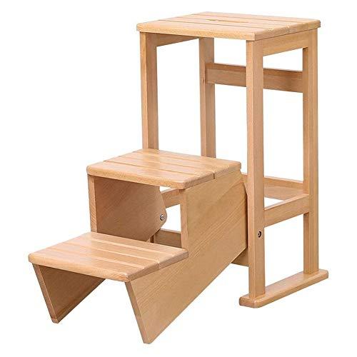 Chair Escalera de Madera solida multifuncion para sillas de Cocina casera de Doble Uso Plegable Escaleras Presidente movibles 3 Pasos Escala Ascendente de heces,Beige