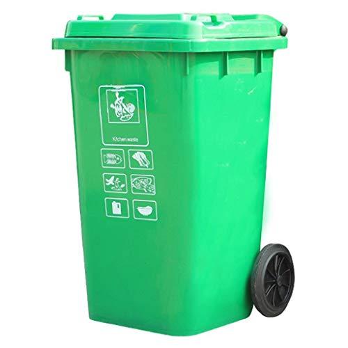 Standaschenbecher Launched Heavy Duty Mülleimer auf Rädern, Large Outdoor Mülleimer, 100L, Grau Aschenbecherbehälter (Color : Green)