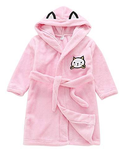 Niños Niñas Albornoz Toalla con Capucha Suave Cómoda Ropa Toalla De Franela Albornoz Housecoat Pink 130