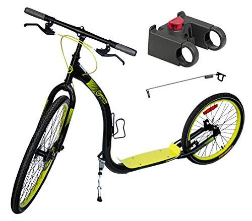 Tretroller Dogscooter Master 26/20 Zoll GLX schwarz-gelb - City Roller XL - Scooter inkl. Antenne für Leinenführung und Adapter kompatibel mit Klickfix