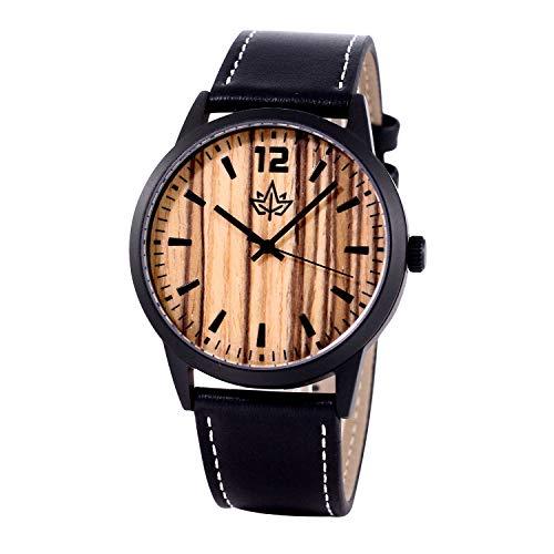 Wood Watch for Men - Matte Black Stainless Steel Case w/Leather Strap Large Easy Read Face. Waterproof! Sport Elegant. Japanese Quartz Movement. Bonus Credit Card Holder. Gift Box.