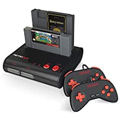 2 game cartridge slots. Compatible with Original NES and SNES games S-Video Connection Capability Includes 2 wired controllers. Includes AV/S video cable. Includes 5V AC Adapter Compatible with Original Port 16-bit SNES controllers