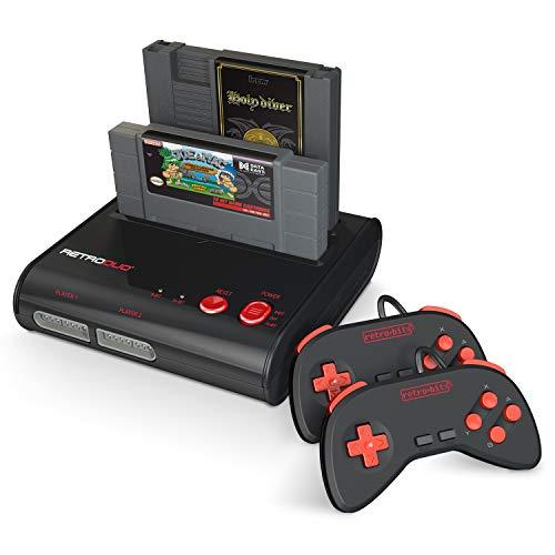 Retro-Bit Retro Duo 2 in 1 Console System - for Original NES/SNES, & Super Nintendo Games - Black/Red