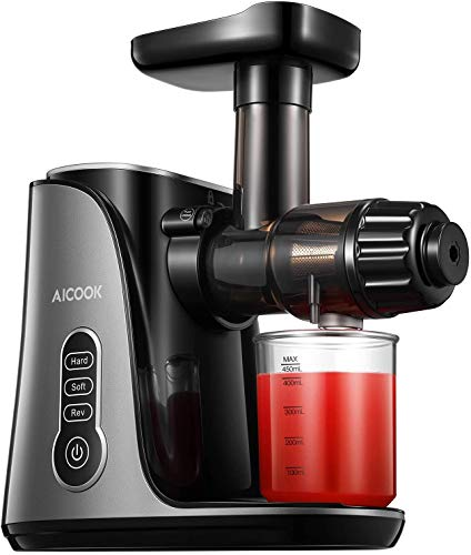 Entsafter AICOOK Slow Juicer für Obst und Gemüse mit Zwei Geschwindigkeiten, 150W Leise & Sicherer Motor, Umkehrfunktion, Saftrezept, BPA-Frei
