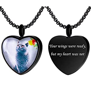 Fanery Sue Personalized Photo Cremation Urn Necklace for Ashes Custom Engraving Heart Pendant Memorial Keepsake Jewelry with Filling Tool