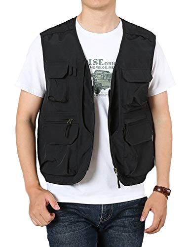 Gihuo Men's Outdoor Pockets Fly Fishing Safari Photo Travel Vest(Black-L)