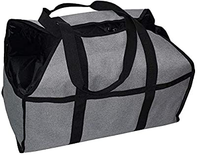 qiuqiu Firewood Log Carrier Tote Bag, Canvas Fireplace Wood Holder Heavy Duty Firewood Carrier Bag with Durable Handle Fireplace Wood Stove Accessories for Camping Firewood-Gray from qiuqiu