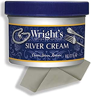 Wright`s Silver Cleaner and Polish Cream - 8 Ounce with Polishing Cloth - Ammonia-Free - Gently Clean and Remove Tarnish without Scratching