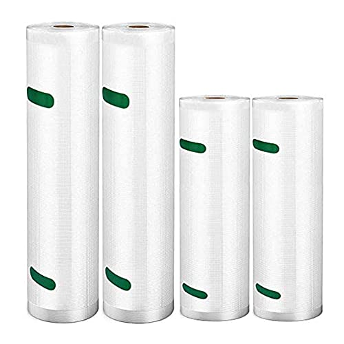 Rollos de vacío, 2 rollos de 20 x 600 cm y 2 rollos de 28 x 600 cm, sin BPA, bolsas grabadas para envasadora al vacío, aptas para microondas y cocina al vacío