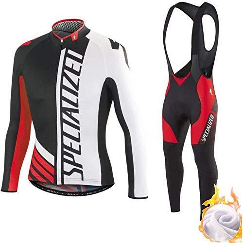 Set Abbigliamento da Ciclismo Completo Ciclismo Uomo Professionale Maglia Maniche Lunghe+Pantaloni Lunghi con 3D Cuscino per Ciclismo MTB Bicicletta Bici da Corsa Ciclismo (L,2)
