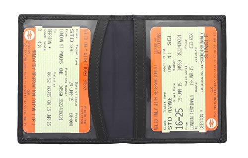 Mala Leder Odyssey Kartentasche Halter für Fahrkarten/Ausweis, weiches Leder 555_14 Schwarz