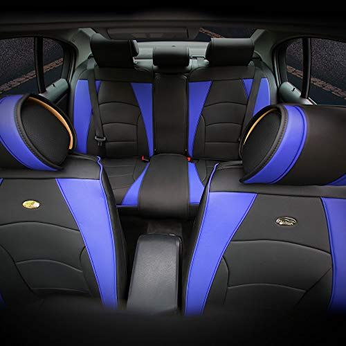 TLH Ultra Comfort Leatherette Seat Cushions Full Set, Blue Black Color-Universal Fit for Cars, Auto, Trucks, SUV