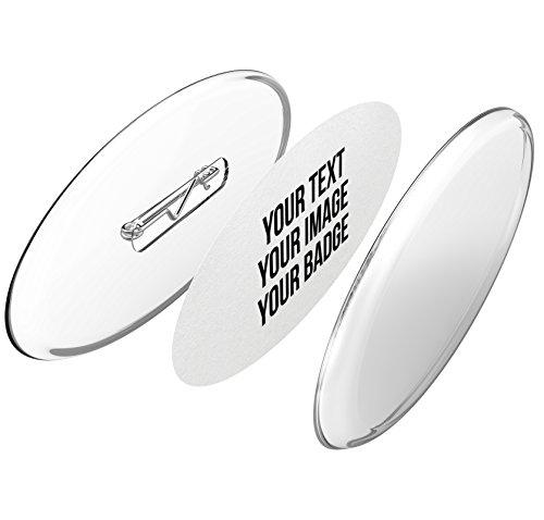 Kit para hacer tus propias chapas, con chapas ovaladas personalizables con imperdibles y tarjetas en blanco imprimibles enfolios A4