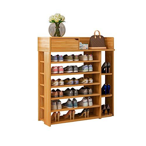 KaminHome - Zapatero recibidor Pasillo Paul Color marrón Claro con cajón y baldas para Zapatos Accesorios aparador Estilo escandinavo nórdico Moderno clásico de Madera (105 cm x 80 cm x 25 cm)