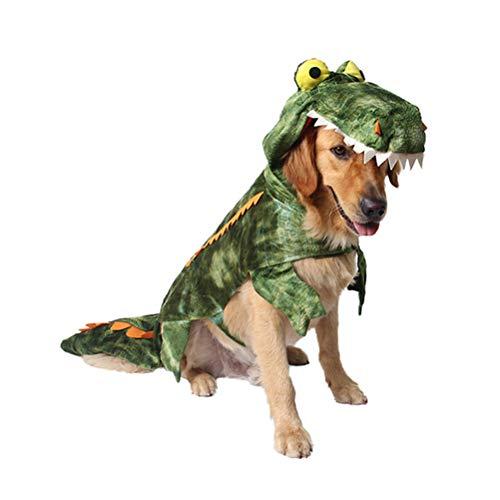POPETPOP Disfraces para Mascotas, Ropa de Cocodrilo para Perros, Disfraz de Invierno de Calentar para Mediano Pequeño Grandes Perros Disfraz Festivo - Talla XL