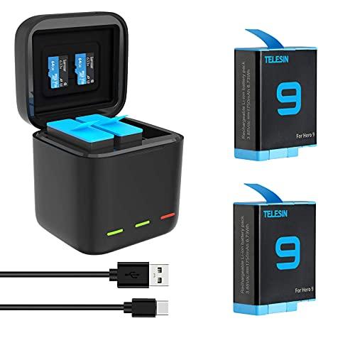 TELESIN 2er-Pack Akkus + 3-Kanal Akku Ladegerät für GoPro Hero 9 Black, Schnellladebatteriespeicher Tragetasche + 2er-Akkus mit USB Typ-C Kabel für GoPro Hero 9 Black