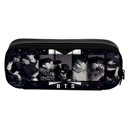YUSMO BTS 3D Full Print Leather Pencil Case Multifunction Pen Bag with Double Zipper