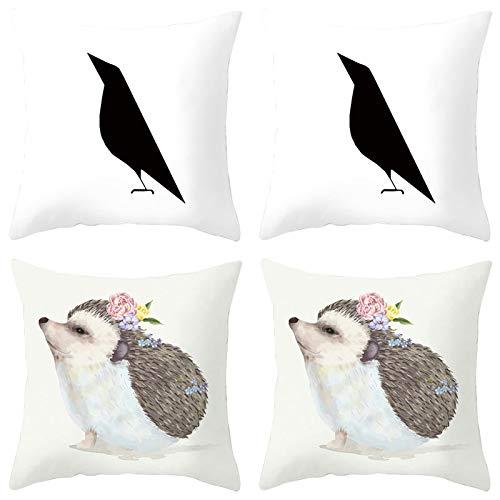 AmDxD Juego de 4 fundas de almohada 100% poliéster, funda de almohada cuadrada de 40,6 x 40,6 cm, diseño de pájaros y erizos, color negro, blanco y marrón
