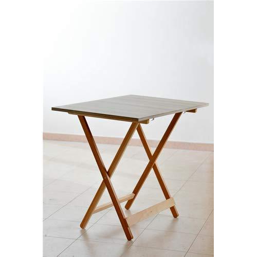 Table pliante en bois finition blanc pliable 60 x 77 cm Maison Jardin Camping
