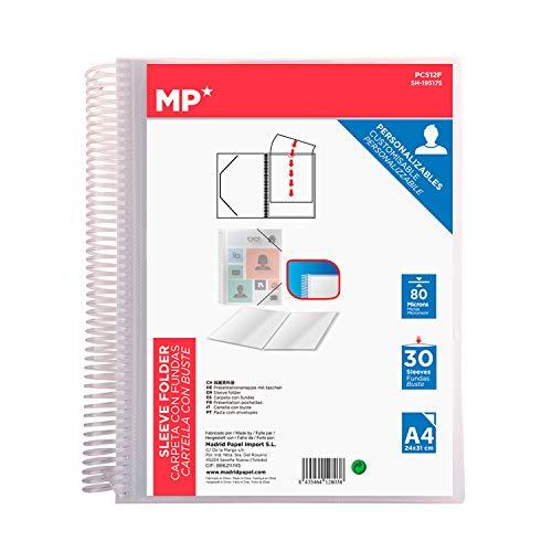MP - Carpeta Clasificadora con Anillas, 30 Fundas A4 con Portada Personalizable