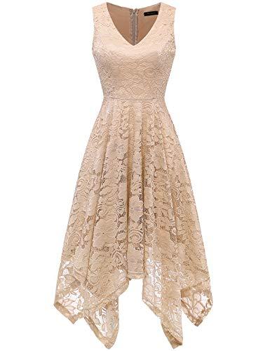 Meetjen Damen Festliche V-Ausschnitt Cocktailkleid Elegante Abendkleid A-Linie Kleid mit Spitze Hochzeit Gast Brautjungfernkleid Champagne L