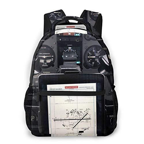 Yuanmeiju Fashion Unisex Backpack Aircraft Cabin Instruments Bookbag Lightweight Laptop Bag for School Travel Outdoor Camping
