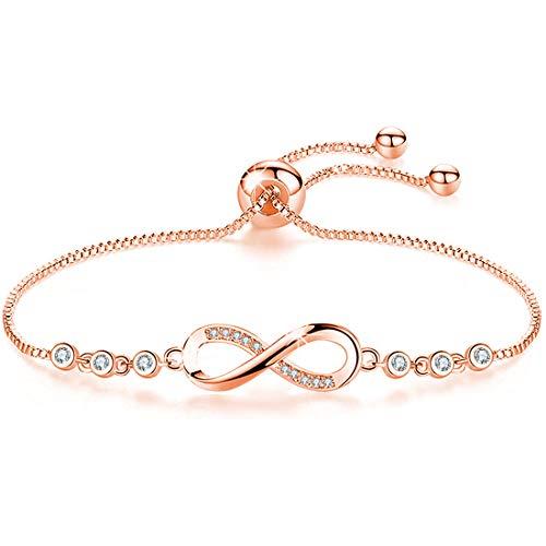 Tusuzik Bracelet double cœur plaqué or rose 14 carats avec zircone cubique pavé réglable pour Femme