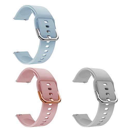 Idealeben 3pcs Cinturino di Ricambio in Silicone 20 mm, Compatibile con Galaxy Watch Active, Cinturino Sostitutivo Smartwatch, Bracciale Sportivo Traspirante, Rosa, Grigio, Blu (5.5-6.7 Pollici)