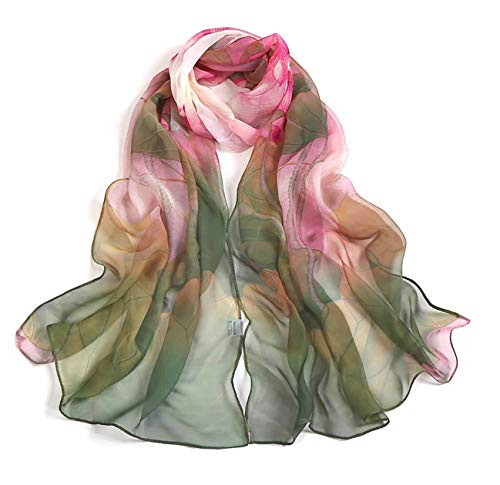 Scarfs for Women Lightweight Print Floral Pattern Scarf Shawl Fashion Scarves Sunscreen Shawls, Green, 16050CM