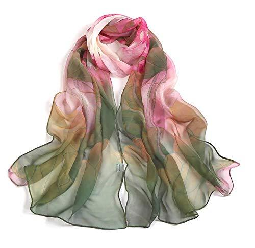 Scarfs for Women Lightweight Print Floral Pattern Scarf Shawl Fashion Scarves Sunscreen Shawls, Green, 16050CM