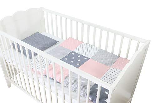 Conjunto de ropa de cuna de ULLENBOOM ® con rosa gris (juego de 2 piezas para cuna: funda de almohada de 35x40 cm y funda nórdica de 80x80 cm)