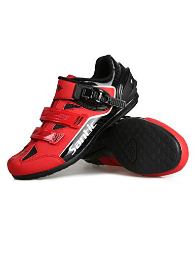 Santic Cycling Shoes Men Spin Unlocked Bike Bicycle Road Biking Lock Shoes MTB Cycling Accessories Self-Locking Shoes Red 8