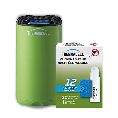 Thermacell Mückenabwehr Protect + 12 Stunden Nachfüllpack Innovativo Dispositivo antizanzare dal Design Moderno, per Giardino, terrazza e Campeggio, Verde