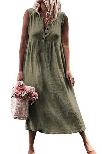 Dam vintage kläder linne bomull ärmlös gunga sommar casual plus size formell klänning lång