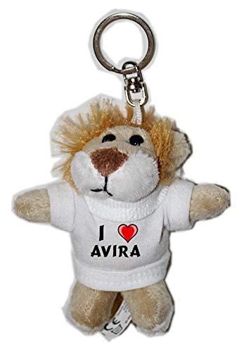 Plüsch Löwe Schlüsselhalter mit einem T-shirt mit Aufschrift mit Ich liebe Avira (Vorname/Zuname/Spitzname)