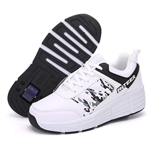 FZ FUTURE Roller Skate Schuhe Sneakers, Kinder Schuhe mit Rollen, Outdoorschuhe Gymnastik Mode Turnschuhe, für Kinder Mädchen Junge Erwachsene,A,37