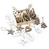 Logbuch-Verlag 20 piccoli ciondoli natalizi legno marrone scuro bianco cuore stella Albero Natale addobbi Festività Feste particolare vintage cordino