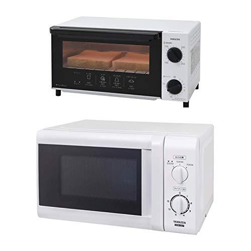 【セット買い】 [山善] 電子レンジ 17L ターンテーブル 【東日本 50Hz専用】 ホワイト MRB-207(W)5 & オーブントースター 温度調整機能付き ホワイト YTN-C101(W)