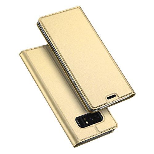 Samsung Galaxy Note 8 ケース 手帳型 マグネット カード収納 スタンド機能 PUレザー TPU 耐衝撃 薄&軽 サムスン スマホケース 手帳 指紋防止 (Samsung Galaxy Note 8, ゴールド)
