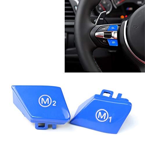 CAR LP Sportlenkrad M1 + M2 Mode Button Switch-Ordnungs-Abdeckung for BMW F30 F34 F15 F16 2014-2018 (blau) (Farbe : Blue)