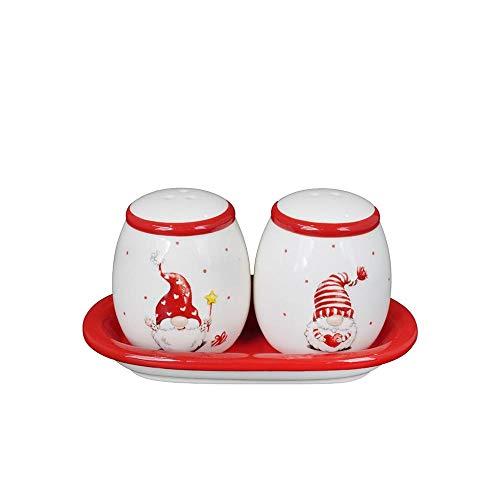 Mazzeo Set Natalizio Sale e Pepe in Ceramica con Gnomi, 13 x 7 x 8 cm, età 3+