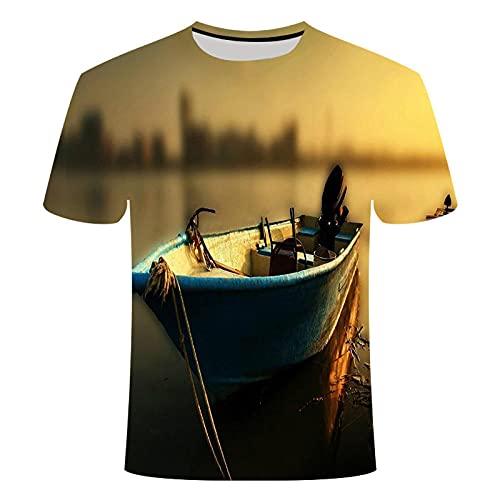 T-fashion shop Celebridad de Internet Mismo Estilo,T-Shirt de impresión Digital de Peces 3D Estilo Casual o Cuello Camiseta-A_L