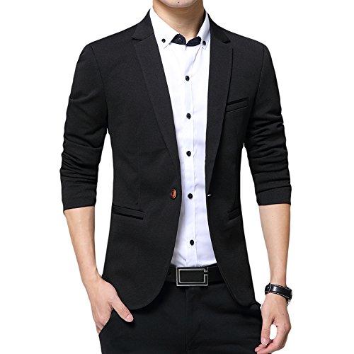 Allthemen Blazer da Uomo Slim Fit con Un Bottone Suit Jacket Giacca Elegante Formale for Wedding Business Evening da Lavoro Nero M
