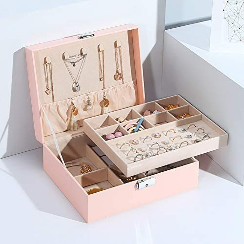 OH Jewelry Storage Case Organizer Pu Cuero Collar Anillo Pendiente Joyería Caja de Joyería Embalaje Diseñado para Mujeres Seguro y fuerte