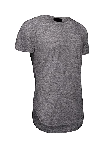 Victorious Men's Hipster Long Length Drop Cut Scallop Curved Hem T-Shirt TS270 - Charcoal - Large - A1B