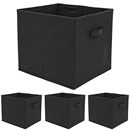 DuneDesign Uppsättning med 4 förvaringslåda för Kallax-hylla – 33 x 38 x 33 Tyglåda med handtag – Vikbox svart