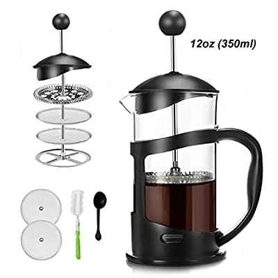 Covos French Press Coffee Maker 12oz(350ml) Coffee/Tea Maker with 4 Level Filtration,Heat Resistant Borosilicate Glass Carafe with Durable Handle, with Cleaning Brush & Measuring Spoon