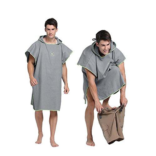 Hiturbo Ponczo ręcznik z mikrofibry, ponczo do surfowania, zmiana ręcznika, z kapturem, do pływania