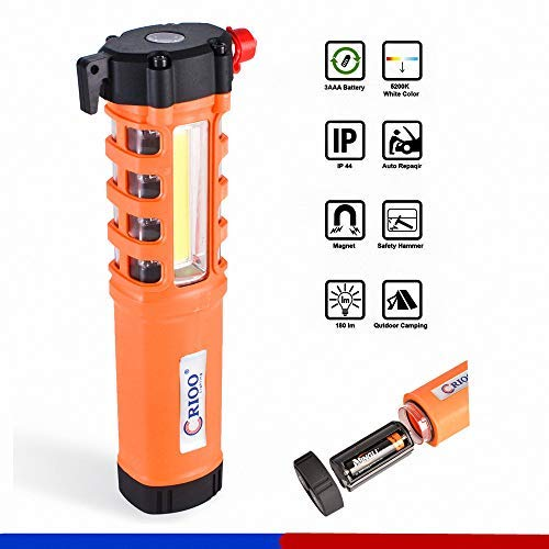 LED-Work-Light with Safety-Hammer Seat Belt Cutter,Emergency-Flashlight Car-Escape-Tool with Magnetic Base for Truck Auto Repair Garage Workshop Camping Torch Light Christmas Gift Cyber Monday